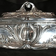 Huge Ca. 1884 Antique Art Nouveau Sterling Silver Casket - Jewelry Box/Chest