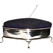Antique Sterling Jewelry Box - Pin/Hatpin  Cushion Top - English