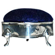 Levi & Salaman Edwardian Sterling Silver Ring/Jewelry Box-Velvet Pin/Hatpin Cushion Top