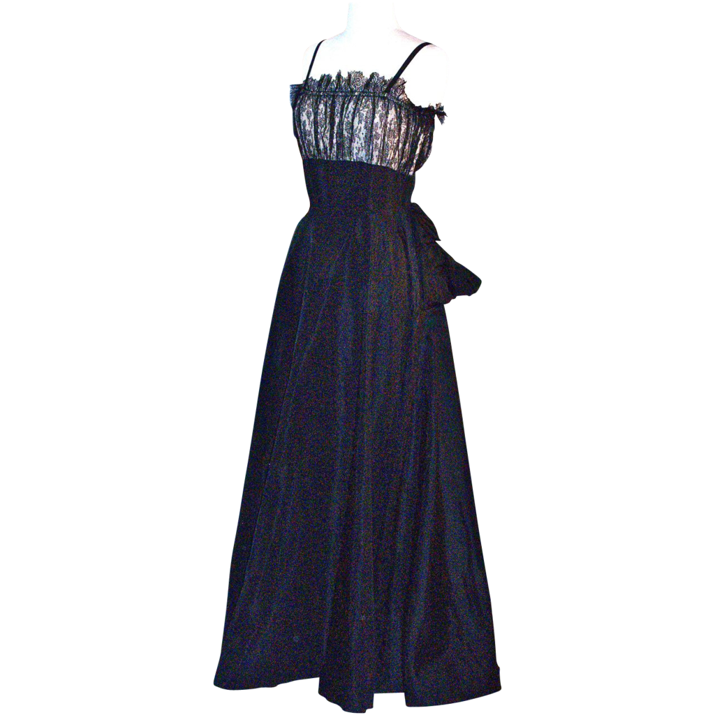 Elegant Eisenberg Original Gown/Dress - Black Satin & Black Lace