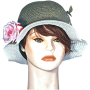 Vintage Cloche Green Straw Hat - Pink Silk Rose - by Coralie