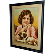 Chromolithograph of Pretty Girl with Puppy Dog - Large Wood Frame