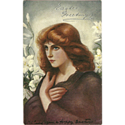 Raphael Tuck Easter Oilette Postcard Lady and Lilies - 1907 Undivided Back