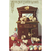 Easter Postcard with Rabbits, Chicks, Eggs, and Doll
