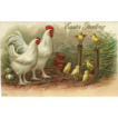 Embossed Easter Greeting Postcard with Hen and Chicks