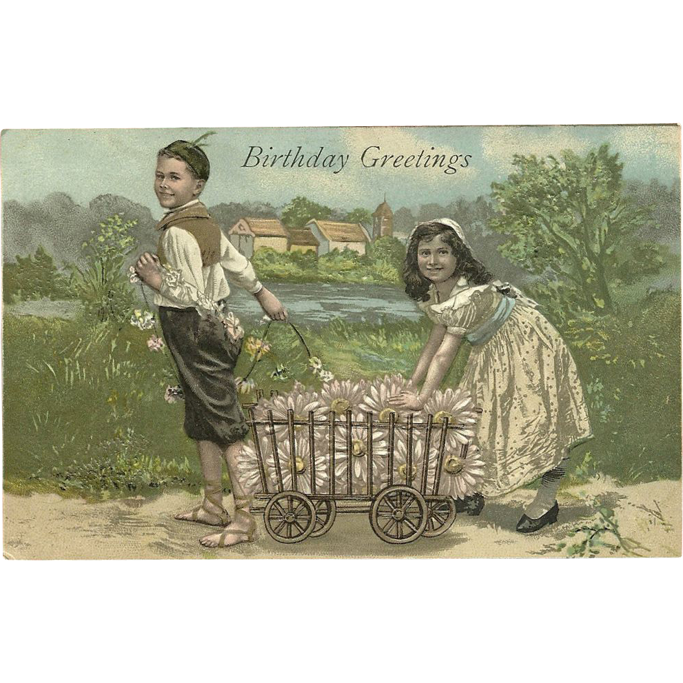 Embossed Birthday Greetings Vintage Postcard of Boy and Girl - Printed in Germany