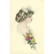 Vintage Schlesinger Postcard of Lovely Lady with Flowers 1910