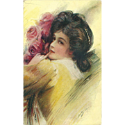 Bryson Postcard of Dark Haired Woman with Flowers - Early 1900's