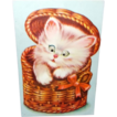 Vintage Squeaker Postcard with Moving Eyes - Cat in Wicker Basket