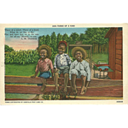 Black Americana Postcard Titled Three of a Kind