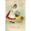 Embossed Easter Postcard of Girl in Bonnet with Eggs and Chicks 1915
