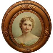 Oval Wood and Gesso Frame with Vintage Portrait Print of Lady
