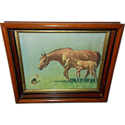 Mare and Colt Meeting Beagle Dog - Hello Neighbor by C.W. Anderson