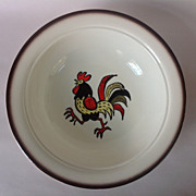 Metlox Poppytrail Red Rooster 10 inch Round Vegetable Bowl