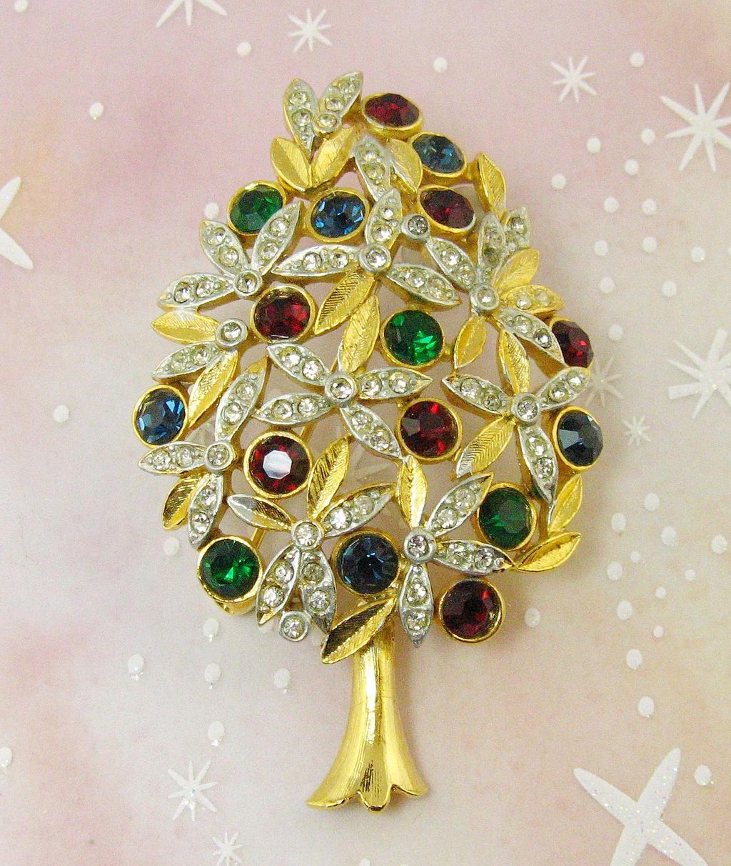 SPHINX Faux Ruby, Emerald & Sapphire Rhinestone Christmas Tree Brooch Pin