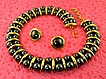 Bold & Rare Designer Signed Faux Hematite & Gold Plated Modernist Necklace Earring Parure