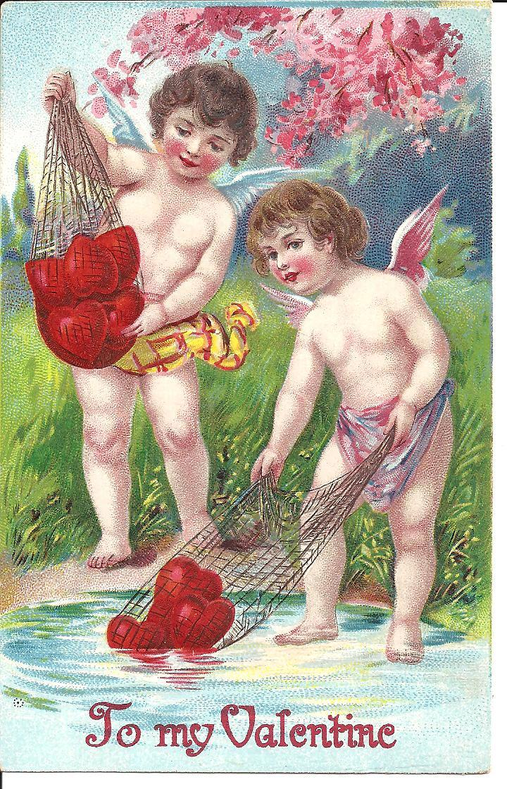 VALENTINE Post Card With Cherubs Hearts And Flowers