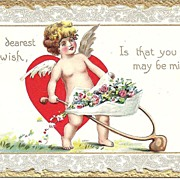 VALENTINE Post Card With Cutie Little Cherub and Big Red Heart