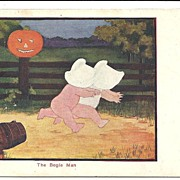 HALLOWEEN Post Card, Sunbonnet Babies and The Bogie Man