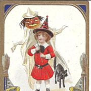 HALLOWEEN Post Card, Black Cats, Ghost, Witch, Jack-o-Lantern