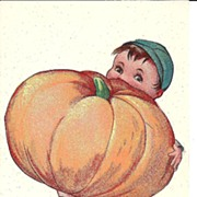 HALLOWEEN Post Card, Little Boy with BIG Pumpkin