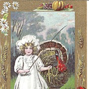 REDUCED POST CARD, Sweet Little Maiden Leading a Huge Turkey