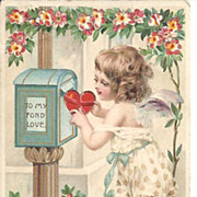 HOLD TO LIGHT Post Card~Sweet Angel Sending Love's Token~Valentine