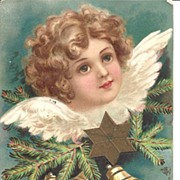 Angelic Christmas Greetings~Post Card~Embossed Angel 1905