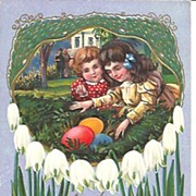 Easter Post Card~Happy Children Finding Giant Colored Eggs~Ca 1900