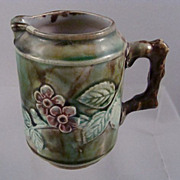 Majolica Cream Pitcher~Creamer~Vines Flowers Twig Handle