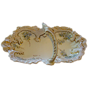 Austrian Porcelain Basket Nappy One Handled Gilded Bowl