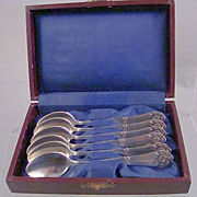 REDUCED Silver~6 Demi Spoons In Presentation Box~ Rose Design~Sweden