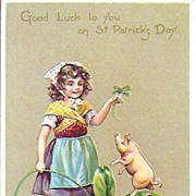 Postcard~Little Girl Giant Shamrock and a Pig~Raphael Tuck & Sons