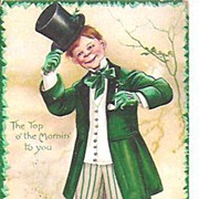Postcard~St Patrick's Day~Young Gent Tipping His Hat~Signed Clapsaddle