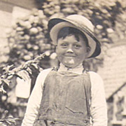 Photo Post Card~Freckled Face Little Boy Wearing TWO Hats