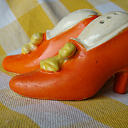 Funky Little Orange Shoes~Salt and Pepper Shakers