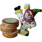 Happy Clown Salt and Pepper Shakers~Circa 1950