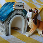 """Choosie"" Dog With Dog House~Vintage Salt and Pepper Shakers"