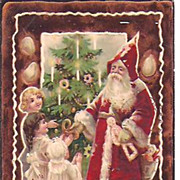 Old World Santa Post Card~Christmas Tree and Little Children~1907