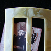 HUGE Celluloid Ladies Dress Buckle~Ivory Colored Plastic