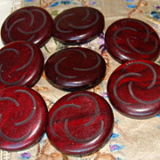 REDUCED Mystery Buttons~Eight Plastic Wood Look Buttons~Mod Design