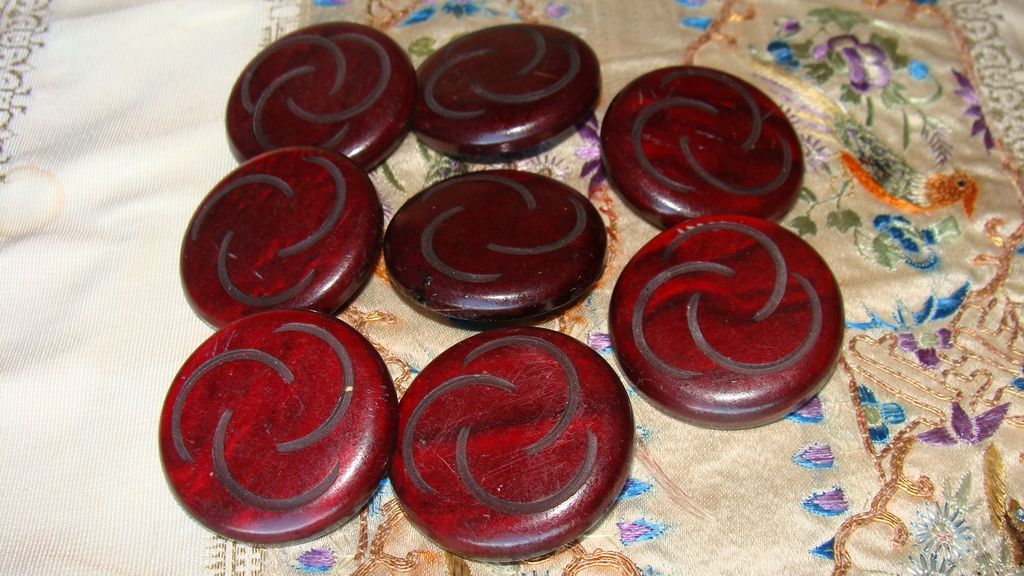 Mystery Buttons~Eight Plastic Wood Look Buttons~Mod Design