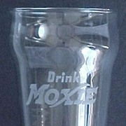 Moxie Soda Etched Advertising Glass