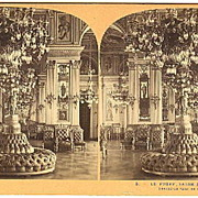 Paris, France Hotel de Ville Reception Salon Stereoview by Lamy