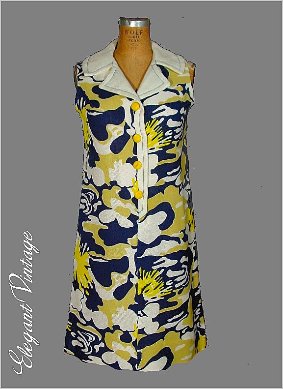 Vintage 60s Dress *Bold  Print * S  *Bargain Rm