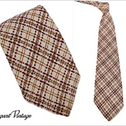 "SALE Men's Vintage Wool Plaid Tie ""A Happy Tie""  4-1/2"""