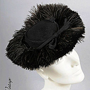 Ostrich Plumes! Vintage 30s - 40s TILT HAT *Karo, NY
