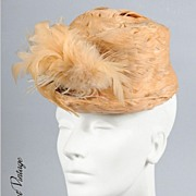 SALE AMAZING 30s - 40s Feathered Cadet style Hat *Gertrude Sheedy