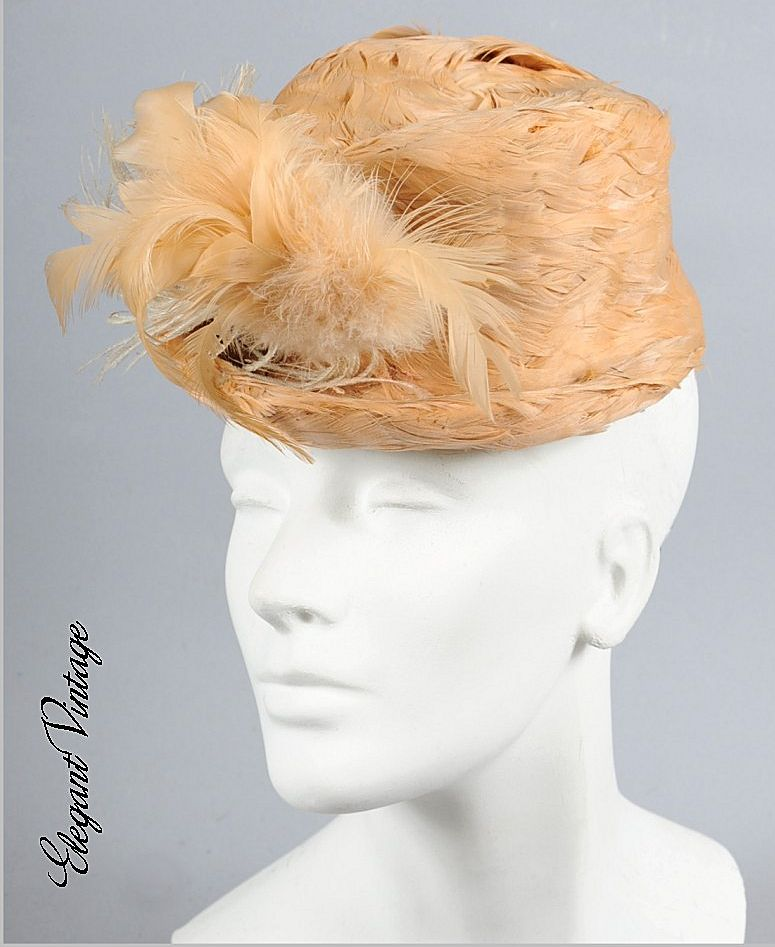 AMAZING 30s - 40s Feathered Cadet style Hat *Gertrude Sheedy
