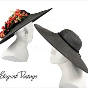 SALE 1930's Dramatic Black Cartwheel Hat  *Removable Flowers